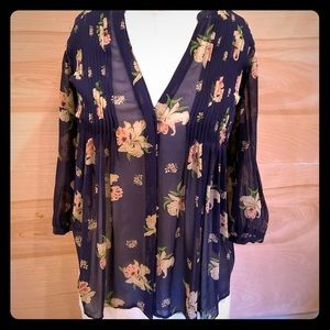 Joie navy blue floral silk blouse size XS